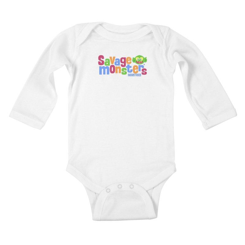 Savage Monsters Fun Logo Kids Baby Longsleeve Bodysuit by SavageMonsters's Artist Shop