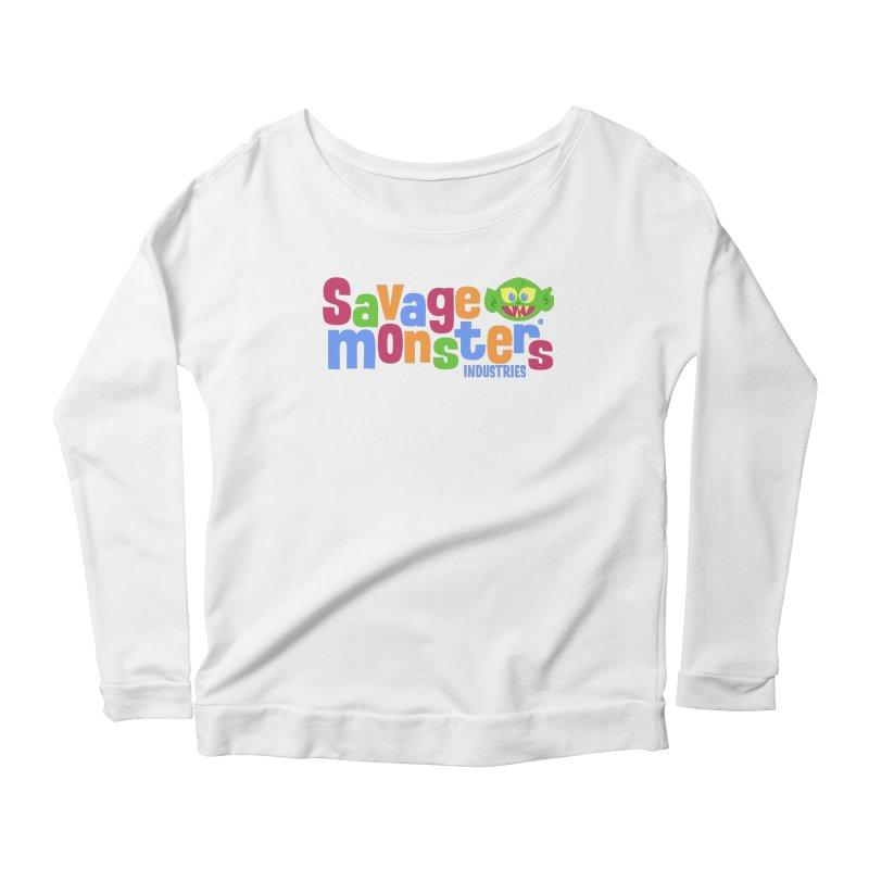 Savage Monsters Fun Logo Women's Longsleeve Scoopneck  by SavageMonsters's Artist Shop