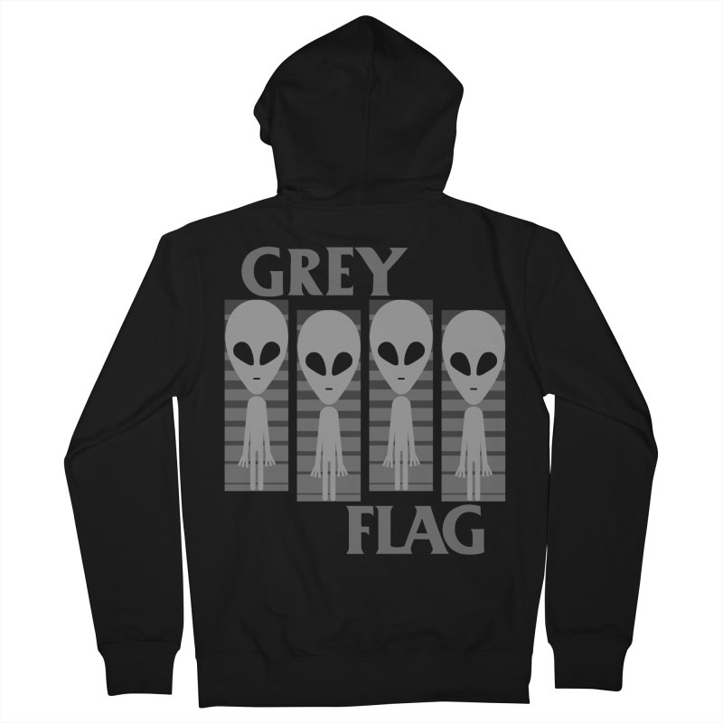 GREY FLAG Women's French Terry Zip-Up Hoody by SavageMonsters's Artist Shop
