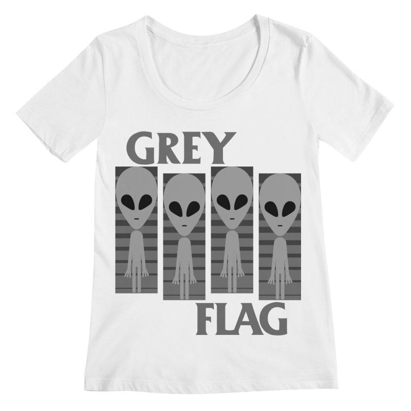 GREY FLAG Women's Regular Scoop Neck by SavageMonsters's Artist Shop