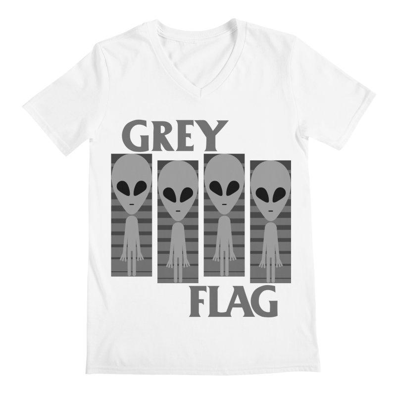 GREY FLAG Men's Regular V-Neck by SavageMonsters's Artist Shop