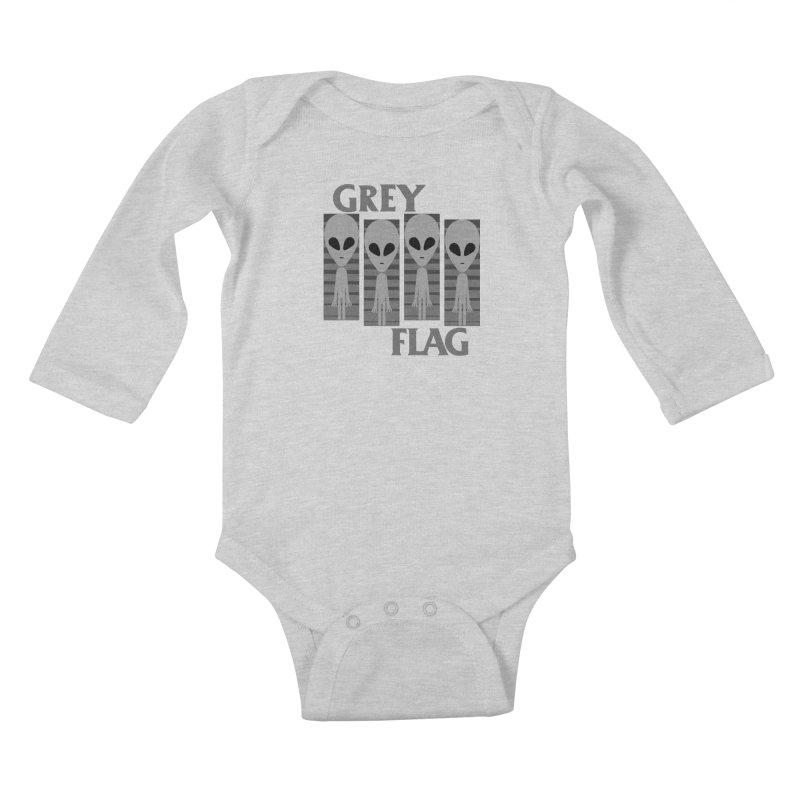 GREY FLAG Kids Baby Longsleeve Bodysuit by SavageMonsters's Artist Shop