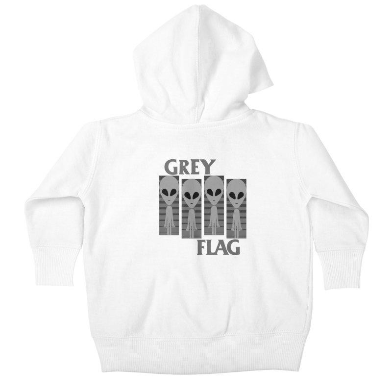 GREY FLAG Kids Baby Zip-Up Hoody by SavageMonsters's Artist Shop