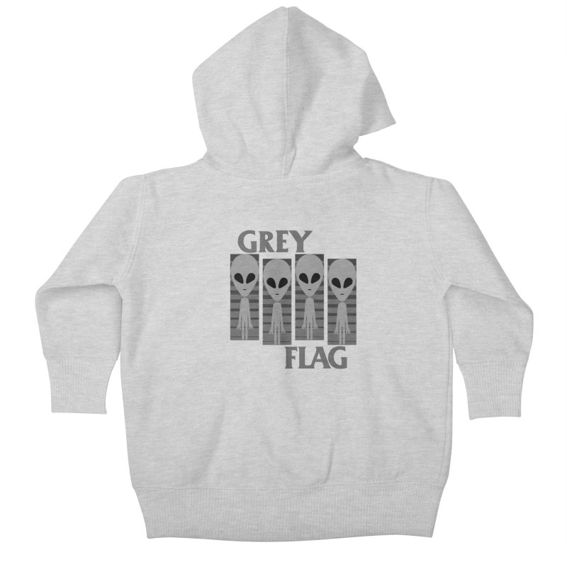 GREY FLAG Kids Baby Zip-Up Hoody by SavageMonsters's Artist Shop