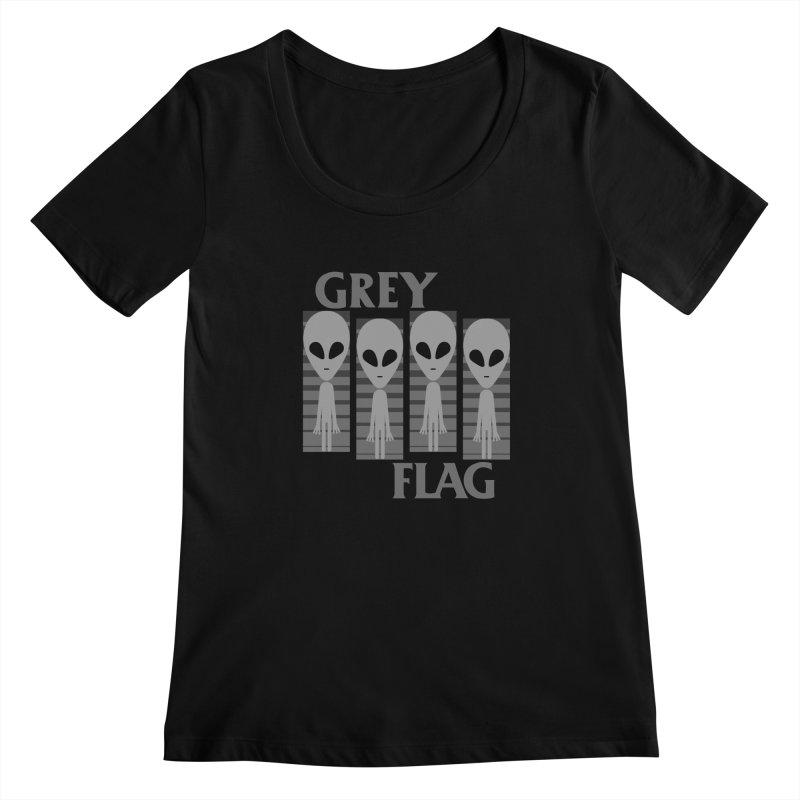 GREY FLAG Women's Scoopneck by SavageMonsters's Artist Shop