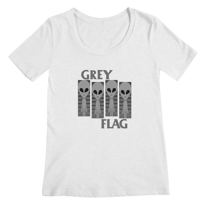 GREY FLAG Women's Regular Scoop Neck by SavageMonsters's Artist Shop