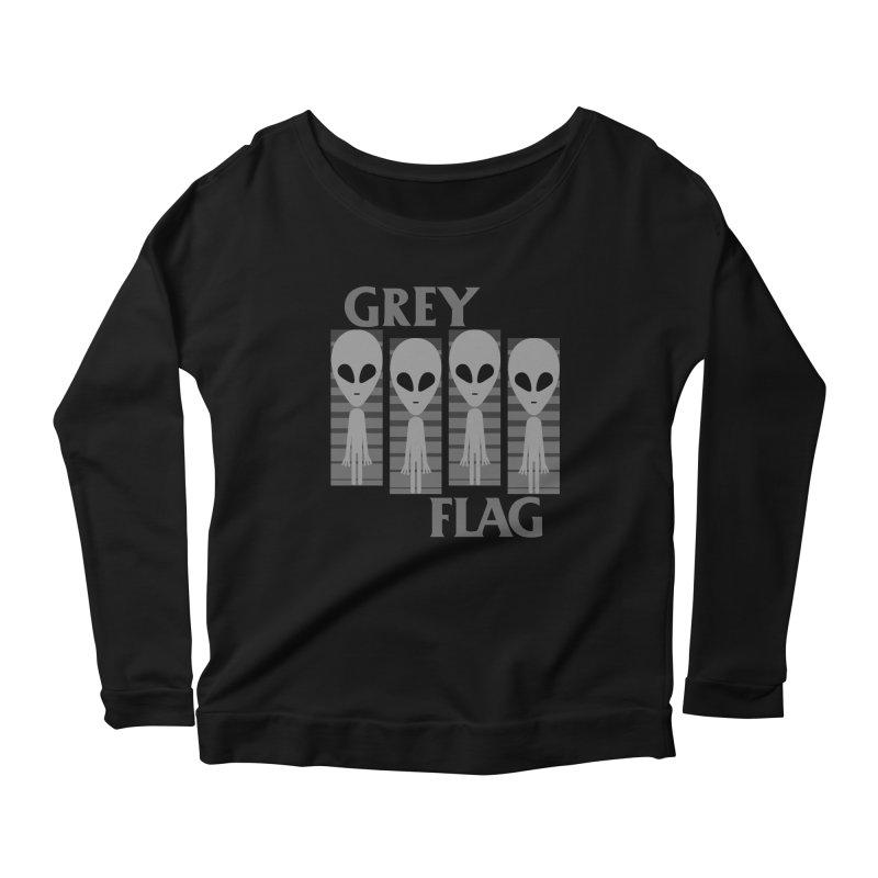 GREY FLAG Women's Scoop Neck Longsleeve T-Shirt by SavageMonsters's Artist Shop