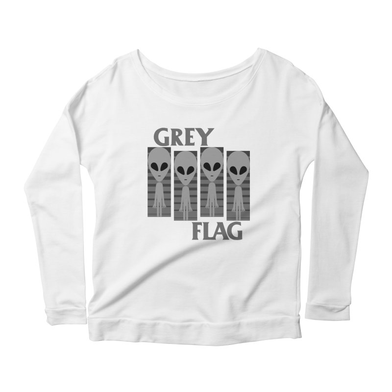 GREY FLAG Women's Scoop Neck Longsleeve T-Shirt by SavageMonsters's Artist Shop