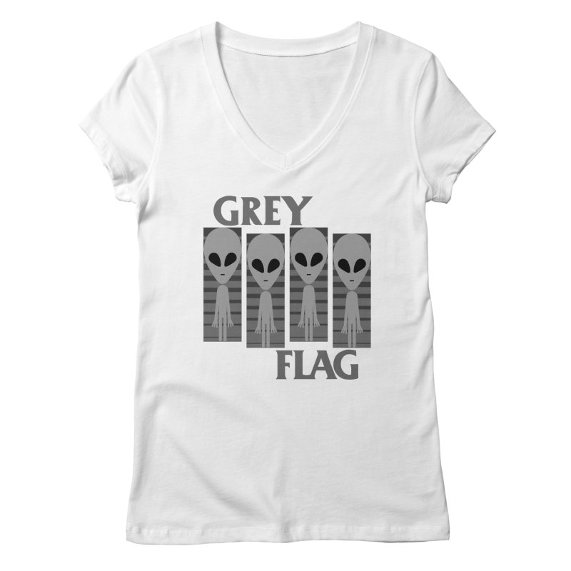 GREY FLAG Women's V-Neck by SavageMonsters's Artist Shop
