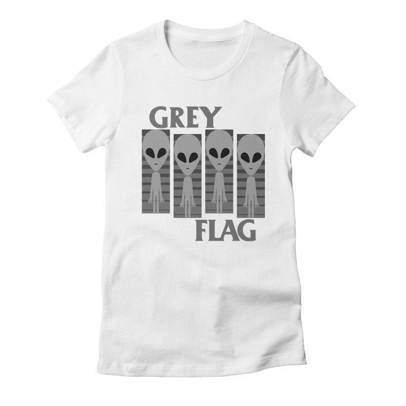 GREY FLAG Women's Fitted T-Shirt by SavageMonsters's Artist Shop