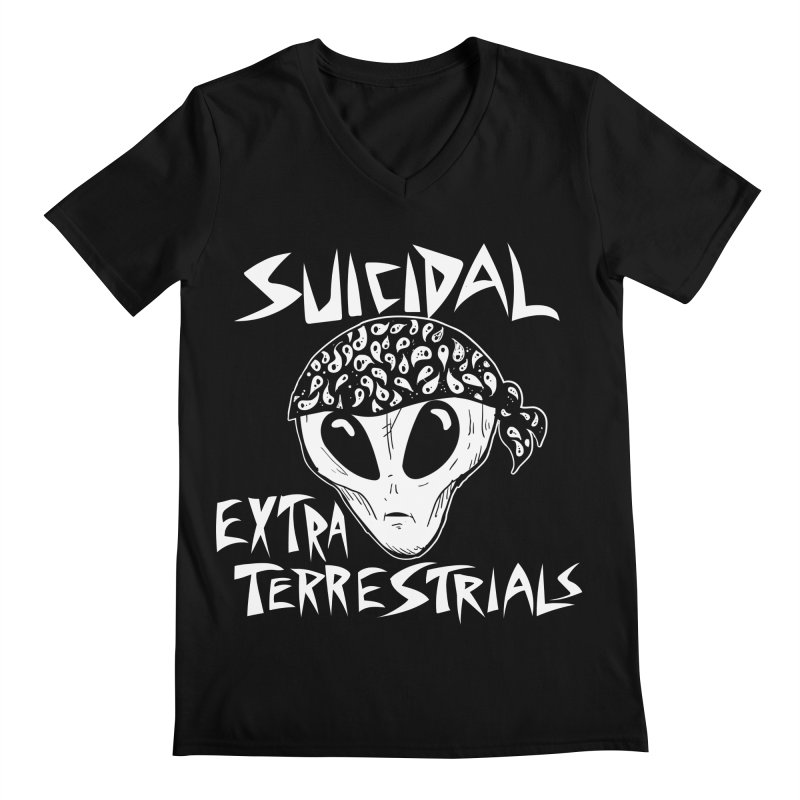 Suicidal Extra Terrestrials Men's Regular V-Neck by SavageMonsters's Artist Shop