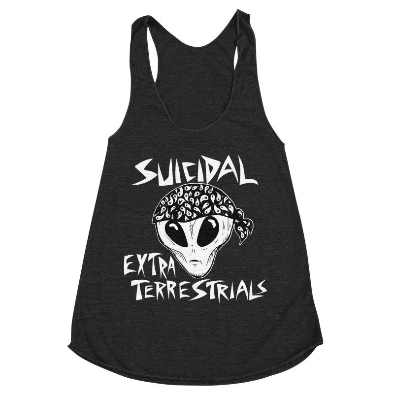 Suicidal Extra Terrestrials Women's Racerback Triblend Tank by SavageMonsters's Artist Shop