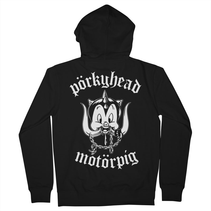 Pörkyhead Motörpig Men's French Terry Zip-Up Hoody by SavageMonsters's Artist Shop