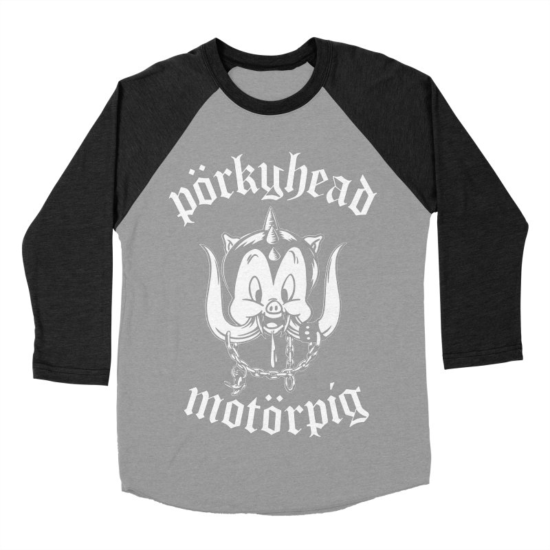 Pörkyhead Motörpig Women's Baseball Triblend Longsleeve T-Shirt by SavageMonsters's Artist Shop