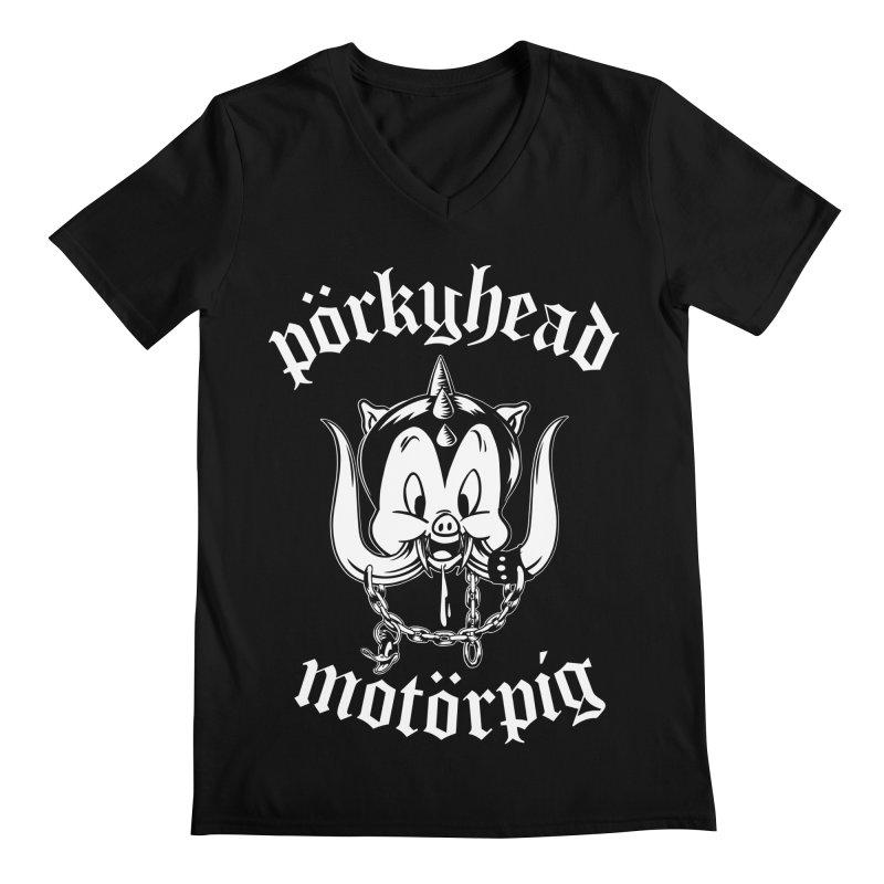 Pörkyhead Motörpig Men's Regular V-Neck by SavageMonsters's Artist Shop