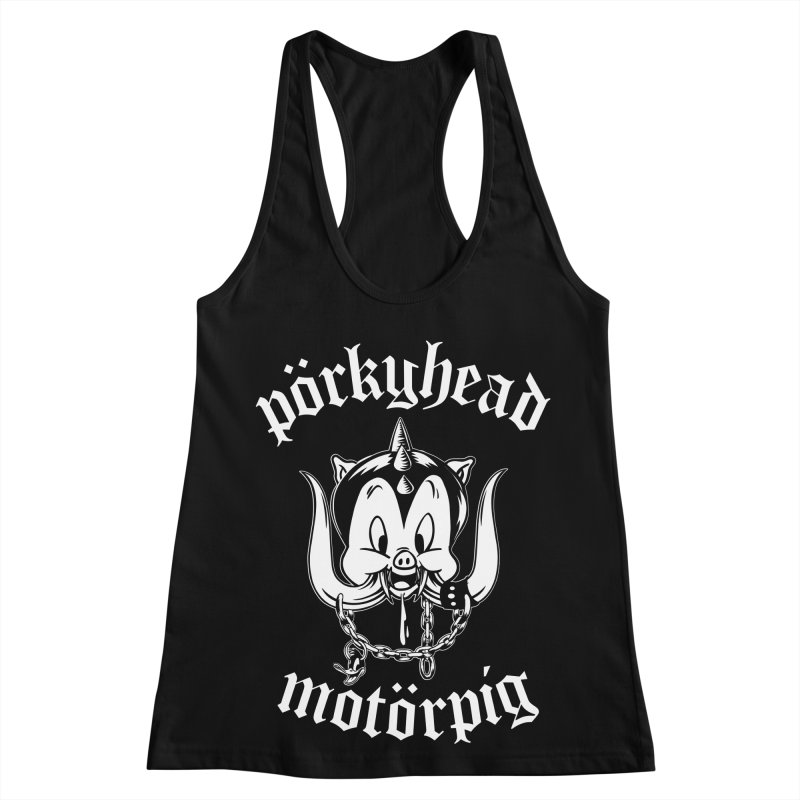 Pörkyhead Motörpig Women's Racerback Tank by SavageMonsters's Artist Shop