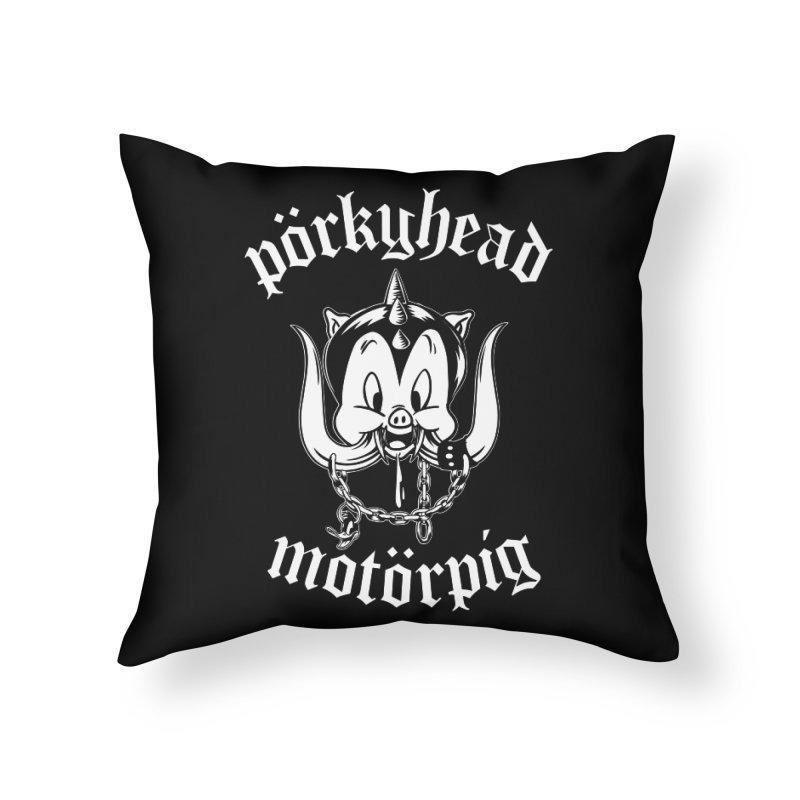 Pörkyhead Motörpig Home Throw Pillow by SavageMonsters's Artist Shop