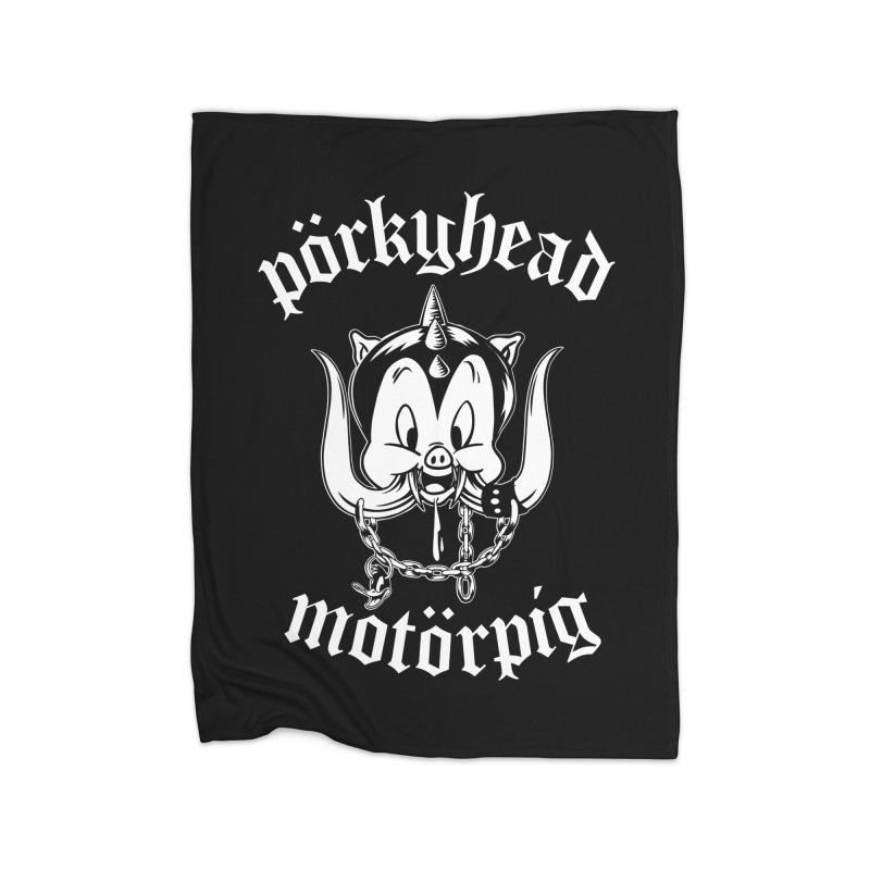 Pörkyhead Motörpig Home Fleece Blanket Blanket by SavageMonsters's Artist Shop