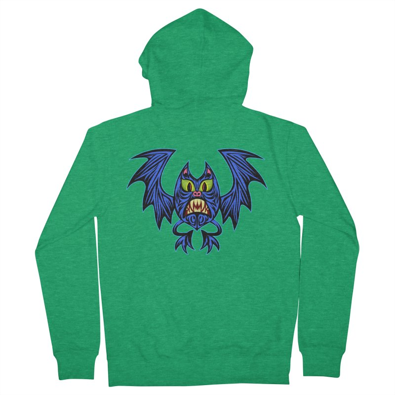 Screaming Bat Women's French Terry Zip-Up Hoody by SavageMonsters's Artist Shop