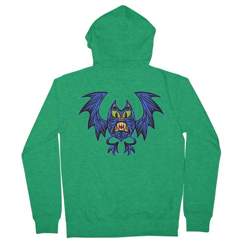 Screaming Bat Men's French Terry Zip-Up Hoody by SavageMonsters's Artist Shop