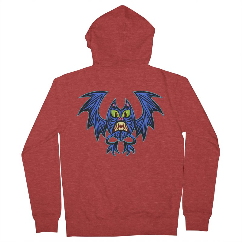 Screaming Bat Men's French Terry Zip-Up Hoody by SavageMonsters's Artist Shop