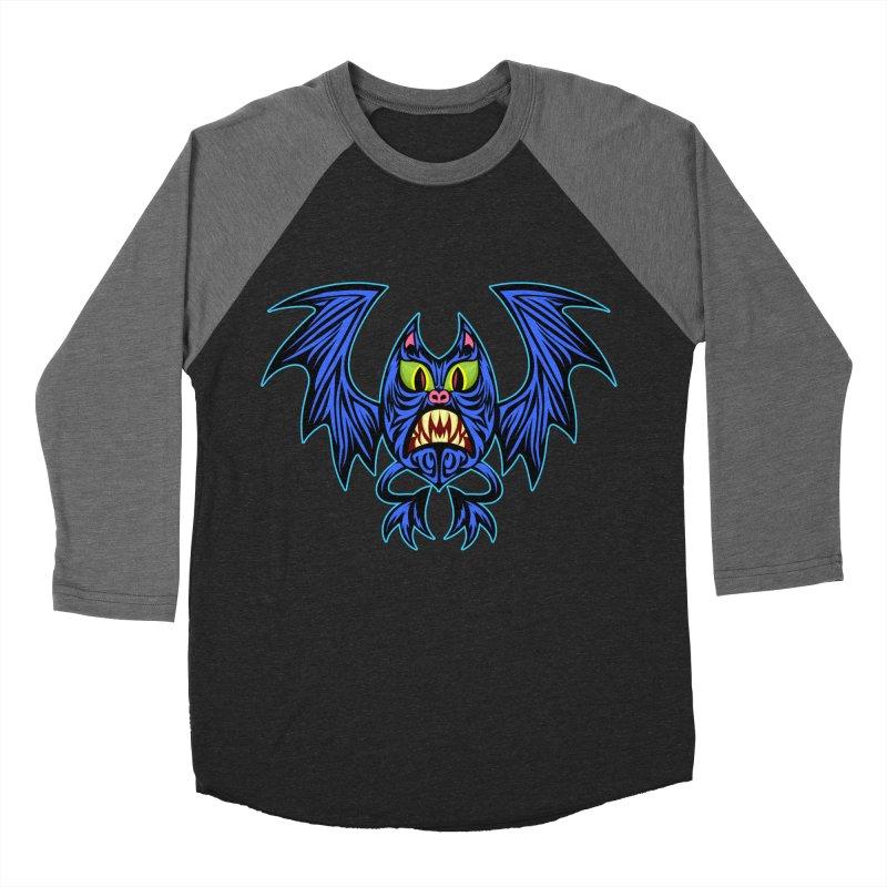 Screaming Bat Men's Baseball Triblend Longsleeve T-Shirt by SavageMonsters's Artist Shop