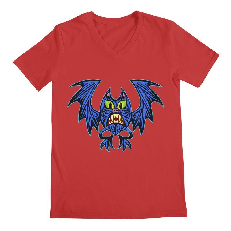 Screaming Bat Men's Regular V-Neck by SavageMonsters's Artist Shop