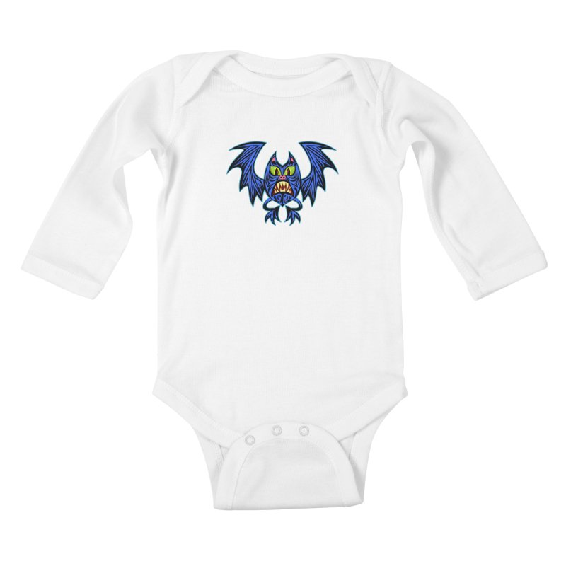 Screaming Bat Kids Baby Longsleeve Bodysuit by SavageMonsters's Artist Shop