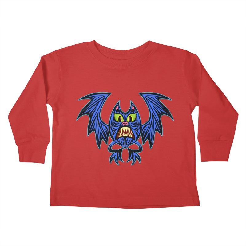 Screaming Bat Kids Toddler Longsleeve T-Shirt by SavageMonsters's Artist Shop
