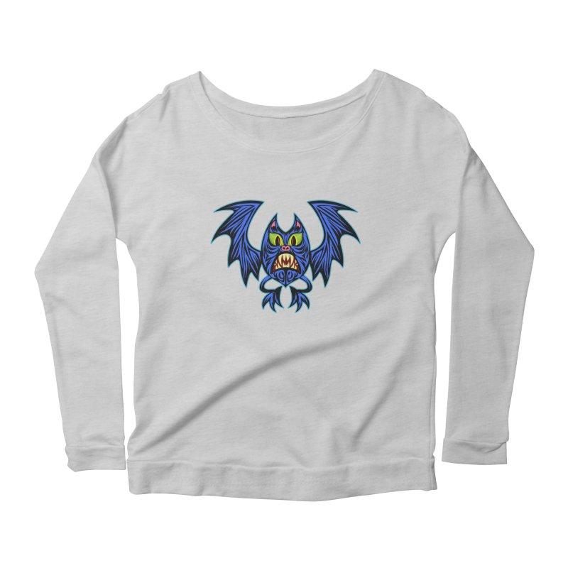 Screaming Bat Women's Scoop Neck Longsleeve T-Shirt by SavageMonsters's Artist Shop