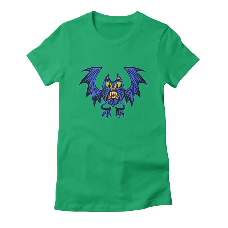 Screaming Bat Women's Fitted T-Shirt by SavageMonsters's Artist Shop