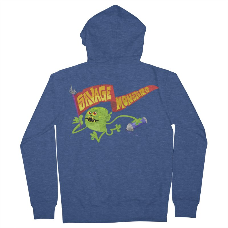 Clarence with Banner Women's French Terry Zip-Up Hoody by SavageMonsters's Artist Shop