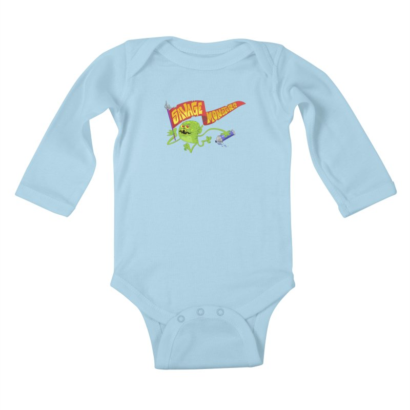 Clarence with Banner Kids Baby Longsleeve Bodysuit by SavageMonsters's Artist Shop