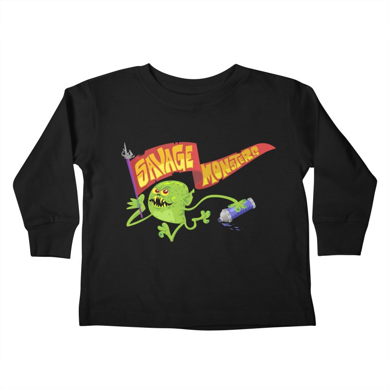 Clarence with Banner Kids Toddler Longsleeve T-Shirt by SavageMonsters's Artist Shop