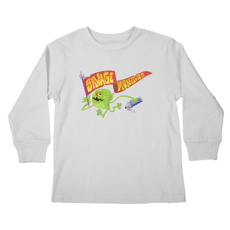 Clarence with Banner Kids Longsleeve T-Shirt by SavageMonsters's Artist Shop