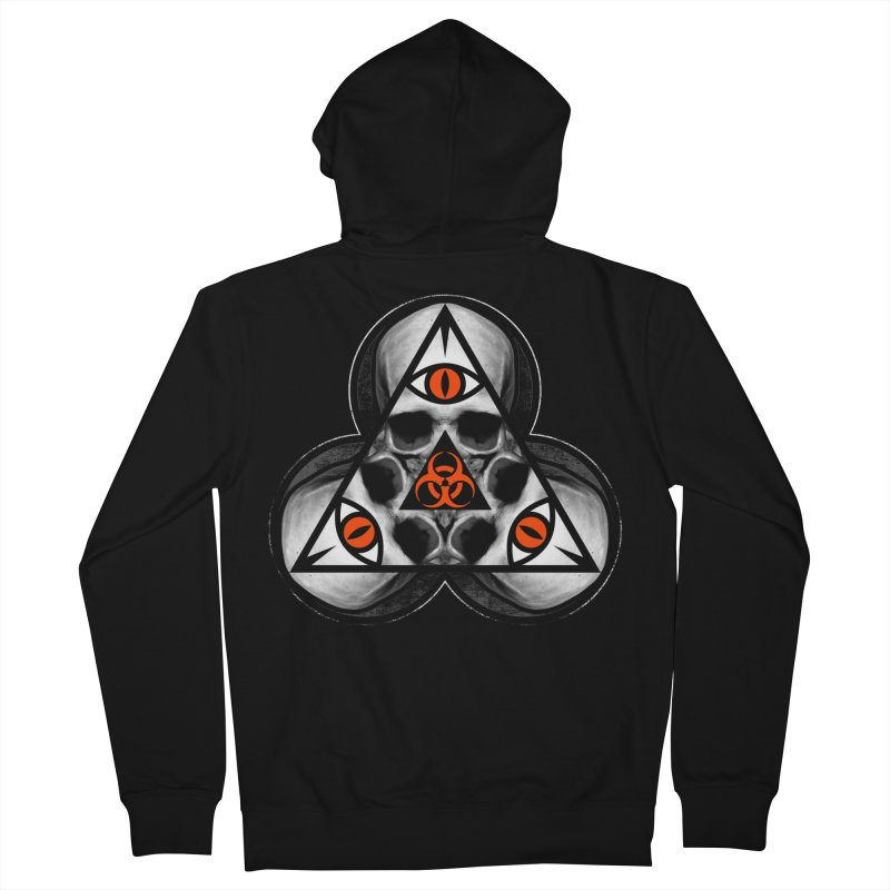 Biohazard TriSkull Men's French Terry Zip-Up Hoody by The Dark Art of Chad Savage