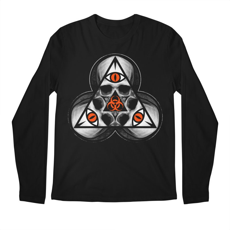 Biohazard TriSkull Men's Longsleeve T-Shirt by The Dark Art of Chad Savage