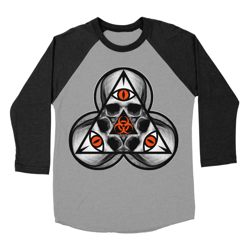 Biohazard TriSkull Women's Baseball Triblend Longsleeve T-Shirt by The Dark Art of Chad Savage