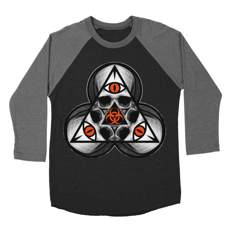 Biohazard TriSkull Men's Baseball Triblend T-Shirt by The Dark Art of Chad Savage