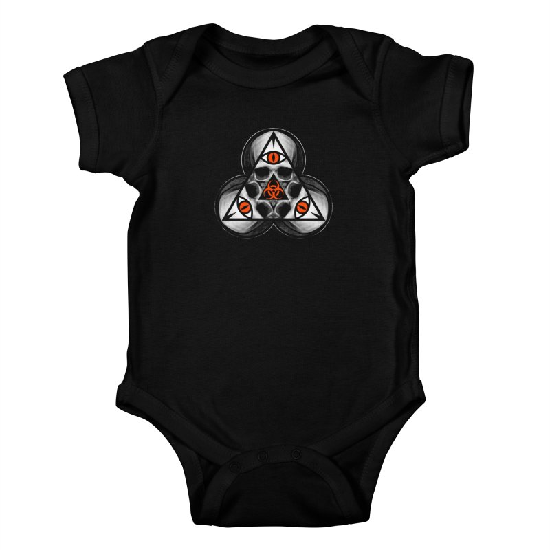 Biohazard TriSkull Kids Baby Bodysuit by The Dark Art of Chad Savage