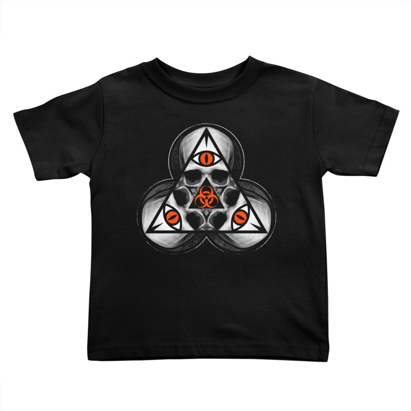 Biohazard TriSkull Kids Toddler T-Shirt by The Dark Art of Chad Savage