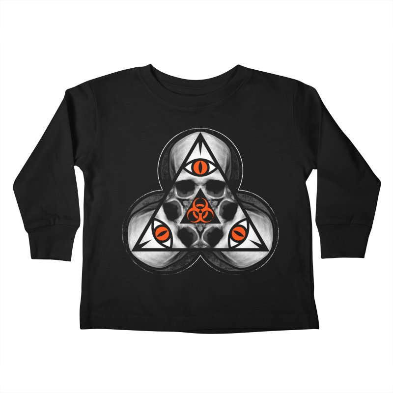 Biohazard TriSkull Kids Toddler Longsleeve T-Shirt by The Dark Art of Chad Savage