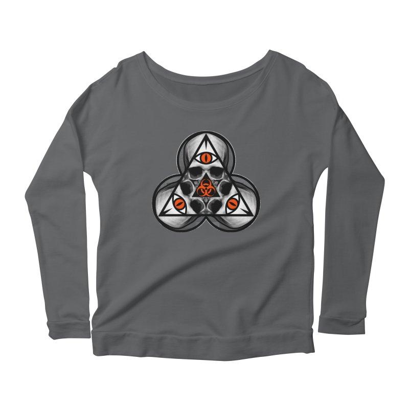 Biohazard TriSkull Women's Scoop Neck Longsleeve T-Shirt by The Dark Art of Chad Savage
