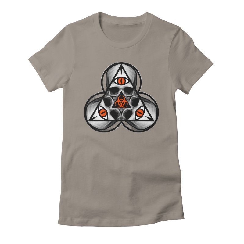 Biohazard TriSkull Women's Fitted T-Shirt by The Dark Art of Chad Savage