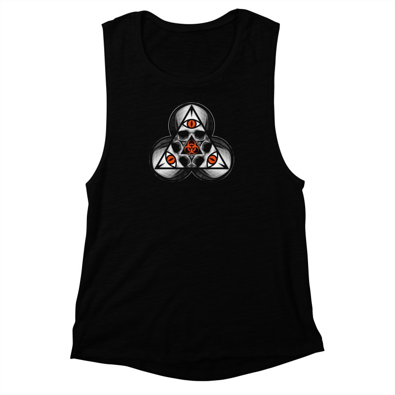 Biohazard TriSkull Women's Muscle Tank by The Dark Art of Chad Savage