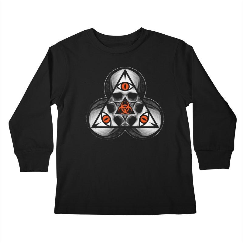 Biohazard TriSkull Kids Longsleeve T-Shirt by The Dark Art of Chad Savage