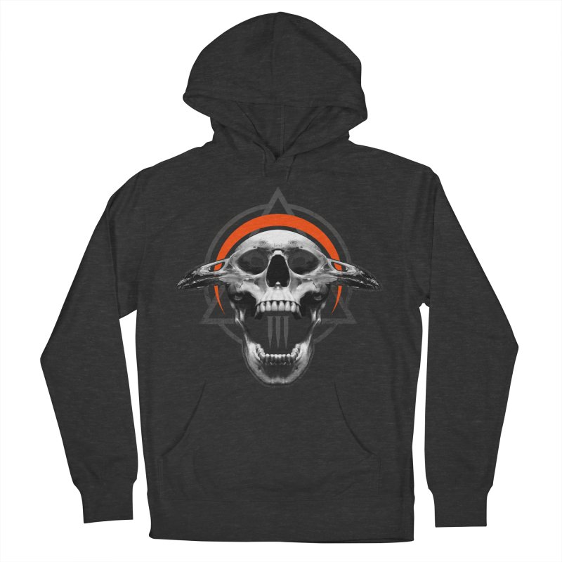 Corvus TriSkull Women's French Terry Pullover Hoody by The Dark Art of Chad Savage