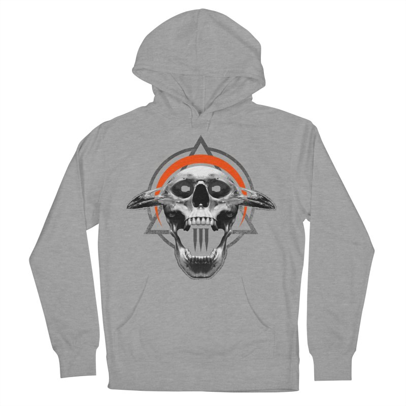 Corvus TriSkull Men's French Terry Pullover Hoody by The Dark Art of Chad Savage