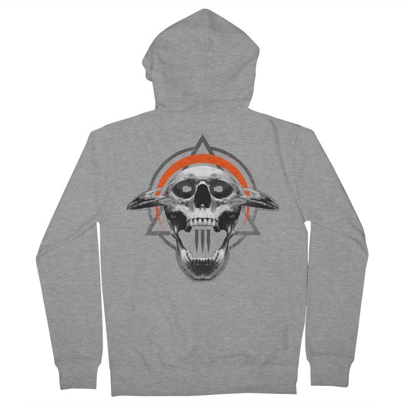 Corvus TriSkull Men's French Terry Zip-Up Hoody by The Dark Art of Chad Savage