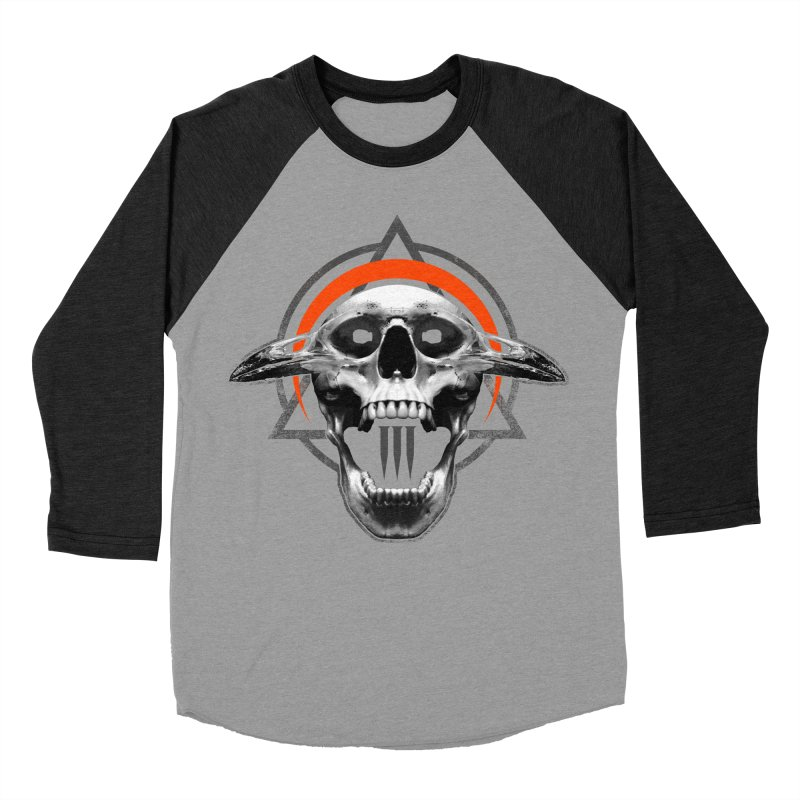 Corvus TriSkull Women's Baseball Triblend Longsleeve T-Shirt by The Dark Art of Chad Savage